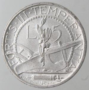 reverse: San Marino. 1864-1938. 5 lire 1937. Ag.