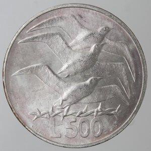 reverse: San Marino. 500 lire 1975. Ag.