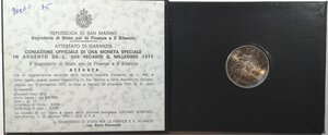 obverse: San Marino. 500 lire 1975 Scalpellino. Ag.