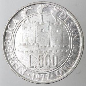 obverse: San Marino. 500 lire 1977. Ag.