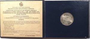 obverse: San Marino. 1000 lire 1978 150° Anniversario della nascita di Tolstoj. Ag.