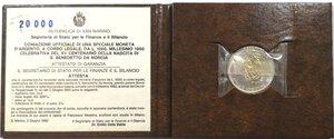 obverse: San Marino.1000 Lire 1980. Ag. XV° Centenario della nascita di San Benedetto da Norcia.