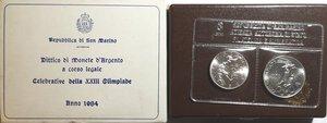 obverse: San Marino. Dittico 500 Lire + 1.000 Lire 1984. Ag. Olimpiade di Los Angeles.