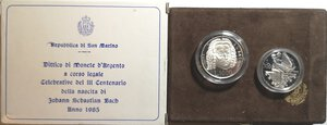 obverse: San Marino. Dittico 500 Lire + 1.000 Lire 1985. Ag. Johann Sebastian Bach.