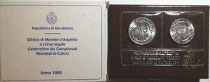 obverse: San Marino. Dittico 500 Lire + 1.000 Lire 1986. Ag. Mondiali Calcio Messico.