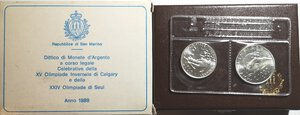 obverse: San Marino. Dittico 500 Lire + 1.000 Lire 1988. Ag. Olimpiadi di Seul.