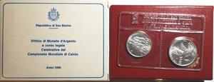 obverse: San Marino. Dittico 500 Lire + 1.000 Lire 1990. Ag. Mondiali calcio Italia 90.