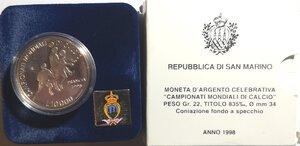 obverse: San Marino. 10.000 Lire 1998. Ag. Campionati mondiali di calcio Francia.