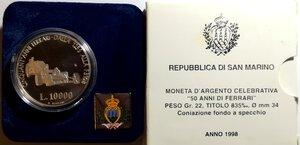 obverse: San Marino. 10.000 lire. 1998. Ag. 50 anni di Ferrari.