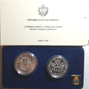 obverse: San Marino. Dittico 5000 Lire + 10.000 Lire 1998. Ag.