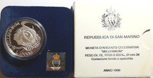 obverse: San Marino. 10000 Lire 1999. Celebrativa delle Olimpiadi. Ag.