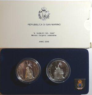 obverse: San Marino. Dittico 5000 Lire + 10.000 Lire 2000. Ag.