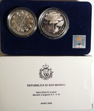 obverse: San Marino. Dittico 5 Euro + 10 Euro 2002. Ag. Benvenuto Euro.