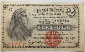 obverse: Banconote. Banca Toscana di Anticipazioni e Sconto. Dante Alighieri. Buono da 2 lire.