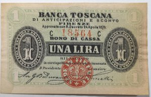 obverse: Banconote. Banca Toscana di Anticipazioni e Sconto. 1 Lira.