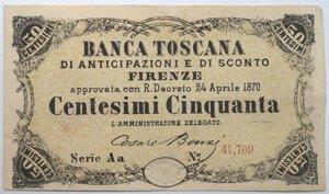 obverse: Banconote. Banca Toscana di Anticipazioni e Sconto. 50 Centesimi.