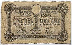obverse: Banconote. Banco di Napoli. 1 Lira. 1 ottobre 1870. Fede di Credito del V° tipo.