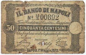 obverse: Banconote. Banco di Napoli. 50 Centesimi. Fede di credito.