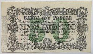 obverse: Banconote. Banca del Popolo Firenze. 50 Centesimi.