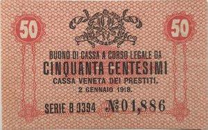 obverse: Banconote. Occupazione Austriaca. Cassa Veneta dei prestiti. 50 Centesimi.