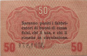 reverse: Banconote. Occupazione Austriaca. Cassa Veneta dei prestiti. 50 Centesimi.