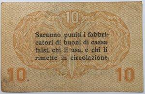 reverse: Banconote. Occupazione Austriaca. Cassa Veneta dei prestiti. 10 Centesimi.