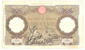 obverse: Banconote. Regno d Italia. 100 Lire. Roma Guerriera. Fascio.