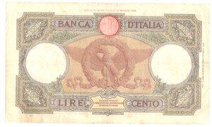 reverse: Banconote. Regno d Italia. 100 Lire. Roma Guerriera. Fascio.