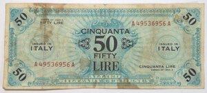 obverse: Banconote. Occupazione Americana. 50 Am lire Bilingue FLC. 1943.
