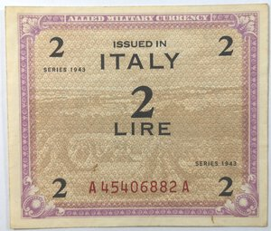obverse: Banconote. Occupazione Americana. 2 am lire. Monolingua. FLC. 1943.