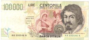 obverse: Banconote. Repubblica Italiana. 100.000 lire Caravaggio. 2°Tipo Tripla A.