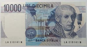 obverse: Banconote. Repubblica Italiana. 10.000 Lire. Alessandro Volta.