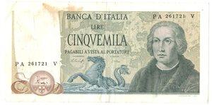 obverse: Banconote. Repubblica Italiana. 5.000 lire Colombo. 2°tipo.
