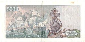 reverse: Banconote. Repubblica Italiana. 5.000 lire Colombo. 2°tipo.