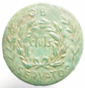 reverse: Impero Romano.Augusto 27 a.C - 14 d.C. AE Sesterzio C. Plotius Rufus 15 d.C. D/ CIVIS in corona di foglie di quercia e ; OB-SERVATOS tra foglie di alloro. R/ C PLOTIVS RFVS III VIR AAA FF attorno a SC. RIC 387; C. 501. AE. g. 25.50 mm. 32.00 R. Rare. Bellissima patina Verde, azzurra.SPL. Ex asta Gemini 2006 ex NAC 2012,errore di conio manca la prima V di RVFVS.cl