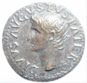 obverse: Impero Romano. Augusto. 27 a.C. - 14 d.C. Dupondio. D/ Testa di Augusto con corona radiata verso sinistra DIVVS AVGVSTVS PATER R\ SC, in corona di foglie di quercia. RIC.79 (Tiberio). Peso 14,60 gr. Diametro 27,43 mm. BB++. Patina cuoio.cl