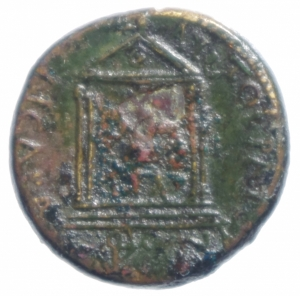reverse: Impero Romano.Augusto.Misia. Pergamo. D\ Tedta di Augusto a destra R\ statua di Augusto in tempio a 4 colonne.Peso 5,45 gr.Diametro 20 mm.BB+.R