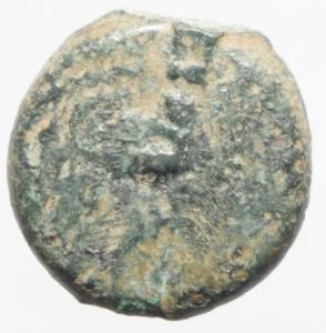 reverse: Impero Romano. Tiberio (14-37). Prutah, AE 16 mm. Palestina. Procuratore Ponzio Pilato, 30 d.C. D/ TIBEPIOY KAICAPOC. Lituo. R/ LIZ (= anno XVII) entro corona. RPC 4968. gr. 2.60 R. AE.MB+.