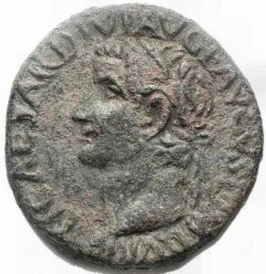 obverse: Impero Romano - Tiberius. 14-37 A.D. As. D/ TI CAESAR DIVI AVG F AVGVST IMP VII Tiberius Head to the left. R/ PONTIF MAXIM TRIBUNIC POTEST XXVII Caduceus between SC. Weight 10.36 grams. Diameter 25.9 x 26.8 mm. VF. Patina