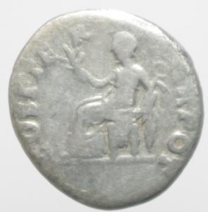 reverse: Impero Romano. Vespasiano. 69-79 d.C. Denario. Ag. Roma. 70 d.C. D\ IMP CAESAR VESPASIANVS AVG, Testa laureata a destra. R\ COS ITER - TR POT, Pax seduta verso sinistra, tiene ramoscello e caduceo. RIC I, 10 = II, 29; C -. Peso 2,90 gr. Diametro 18,00 mm.MB.ar