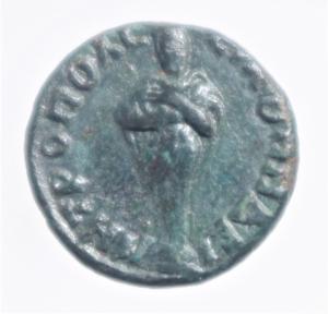 reverse: Impero Romano.Antonino Pio.Phyrgia.Metropolis . D/ Busto verso destra R/Divinit a mani raccolte con colomba .Peso 3,30 gr.Diametro 18,00 mm.BB+.R