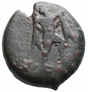 obverse: Mondo Greco - Lucania. Poseidonia.(Circa 470-445 A.C). AE.D/ Poseidone avanza a destra. R/ Toro stante a destra; sopra triscele. gr 5,52. qBB