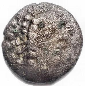 obverse: Monete Celtiche - Gallia Cisalpina. Leponzi.Dracma a Imitazione Massaliota. D/ Testa di Artemide verso destra. R/ DIKOI Leone stilizzato verso destra. Peso gr 1,86. Diametro mm 14,45. qBB/BB+.