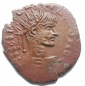 obverse: Monete Barbariche - Bronzetto Imitativo da catalogare. gr 2,62. mm 17,3. Bel ritratto. Patina rossa-marrone