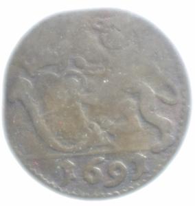 obverse: Zecche Italiane.Lucca. Repubblica (1369-1799) Panterino 1691. D/ Stemma della citt. R/ pantera tiene scudo. MI, 0.66gr. CNI 728. BB