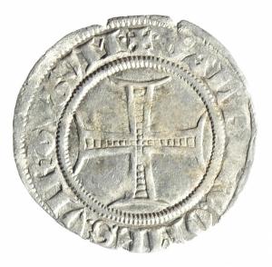 obverse: Zecche Italiane. Milano. Gian Galeazzo Visconti. 1385-1402. Sesino. Ag. D/ Biscione, ai lati G-Z. R/ Croce.CNI 81\83. Peso gr. 1,05 Diametro mm. 20,00. BB+.