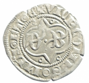 obverse: Zecche Italiane. Milano. Barnab Visconti. 1378-1385. Sesino. AG. Cr. 5/A. Peso gr. 1.06. BB+.