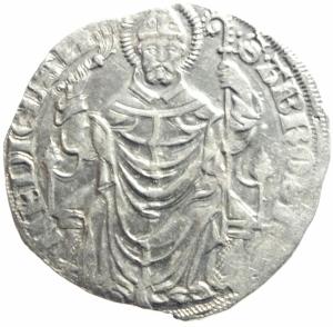 obverse: Zecche Italiane. Milano. Gian Galeazzo Visconti. 1395-1402. Pegione. AG.D\ Sant  Ambrogio in trono . Cr. 7,2. Peso 2,45 gr. Diametro 22,00 mm. qSPL.