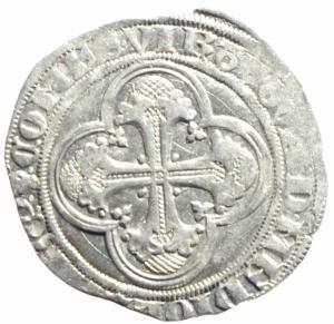 reverse: Zecche Italiane. Milano. Gian Galeazzo Visconti. 1395-1402. Pegione. AG.D\ Sant  Ambrogio in trono . Cr. 7,2. Peso 2,45 gr. Diametro 22,00 mm. qSPL.
