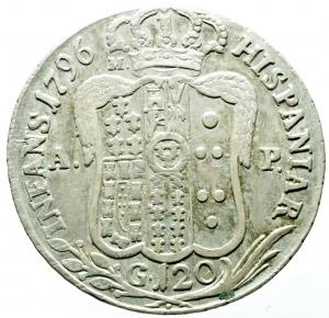 reverse: Zecche Italiane. Napoli. Ferdinando IV (I periodo 1759-1799). 120 grana o piastra 1796. AR. MIR 373/1. P.R. 62. BB.